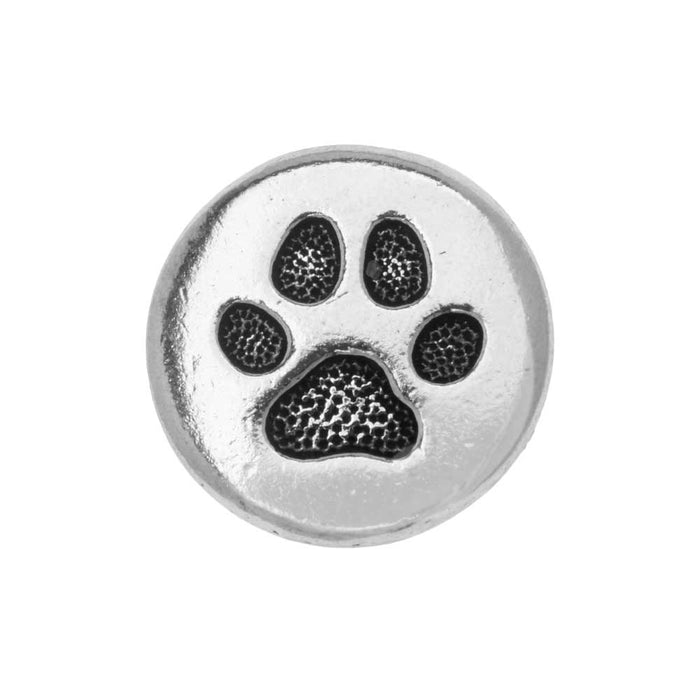 TierraCast Button, Round Paw Print 12mm, 1 Piece, Antiqued Silver Plated
