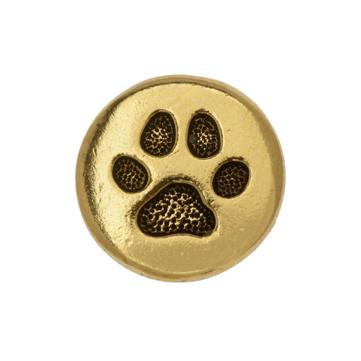 TierraCast Button, Round Paw Print 12mm, 1 Piece, Antiqued Gold Plated