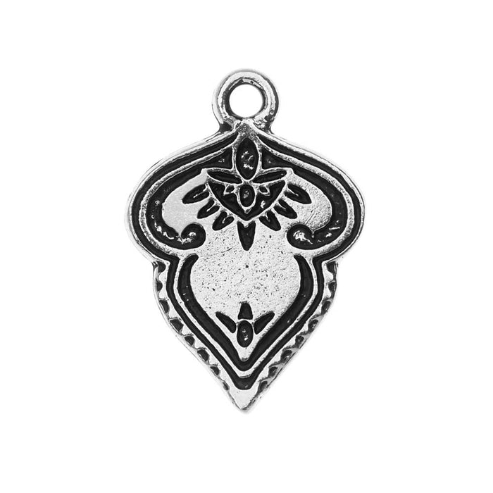 TierraCast Pendant, Mehndi 17x24.5mm, 1 Piece, Antiqued Silver Plated