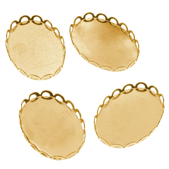 Gold Tone Oval Bezel Cup Cabochon Setting 26x19mm (4)