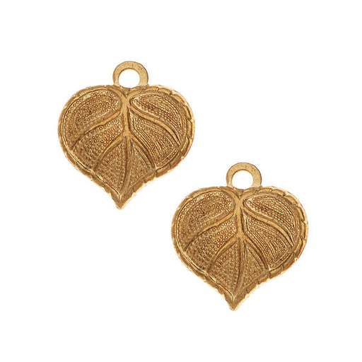 Vintaj Vogue Decorative Charms, Teensie Nouveau Leaf 13x12mm, 2 Pieces, Raw Brass