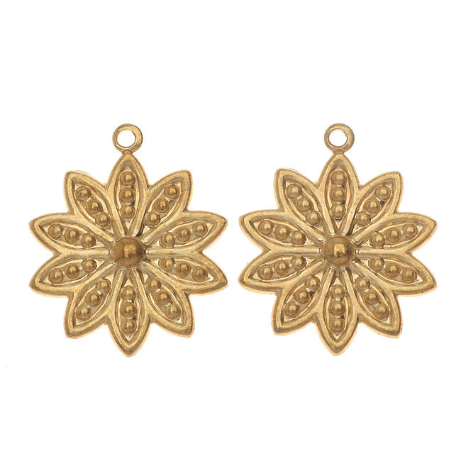 Vintaj Vogue Pendants, Beaded Daisy Petals 19x16mm, 2 Pieces, Raw Brass