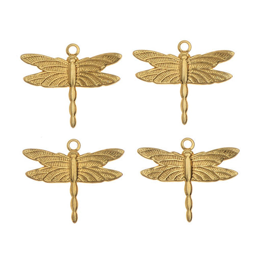 Vintaj Vogue Decorative Charms, Petite Dragonfly 13x15mm, 4 Pieces, Raw Brass
