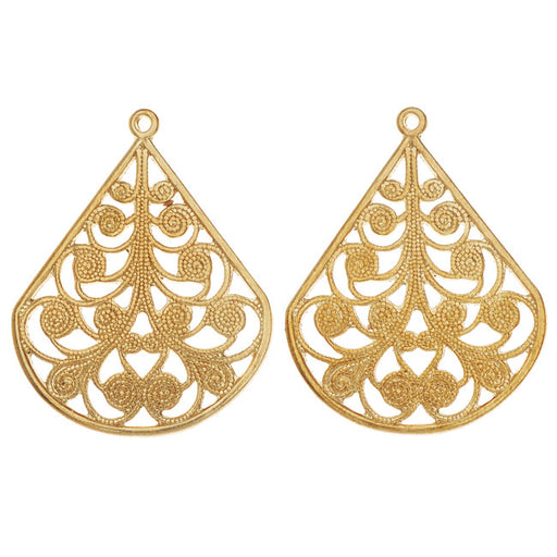 Vintaj Vogue Pendants, Filigree Flourished Fan 28.5x22mm, 2 Pieces, Raw Brass