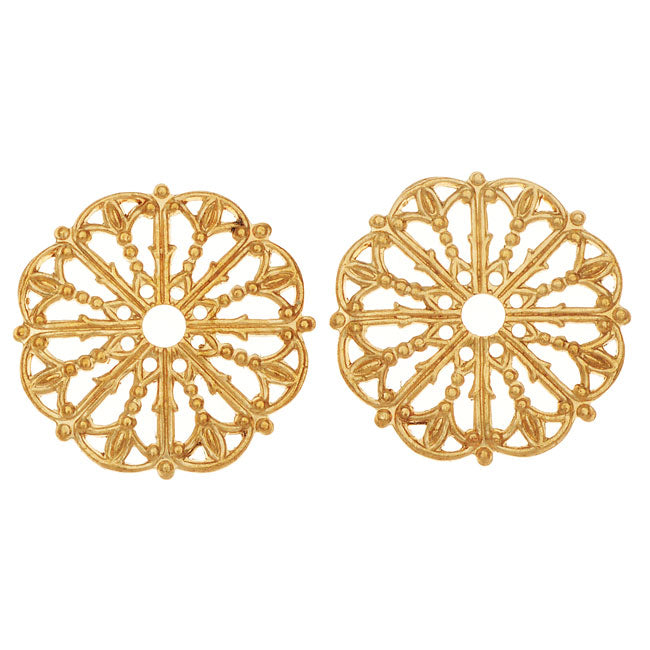 Vintaj Vogue Embellishments, Filigree Medallion 17.5mm, 2 Pieces, Raw Brass