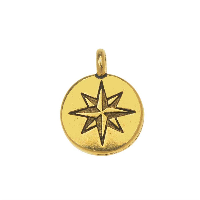 TierraCast Pewter Charm, North Star Design with Loop 14.5x11mm, 1 Piece, 22K Gold Plated