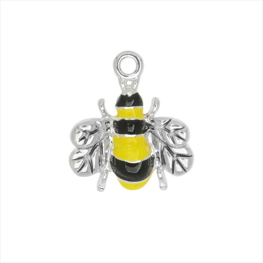 Jewelry Charm, Bee, 18mm, 1 Piece, Silver Plated / Enamel