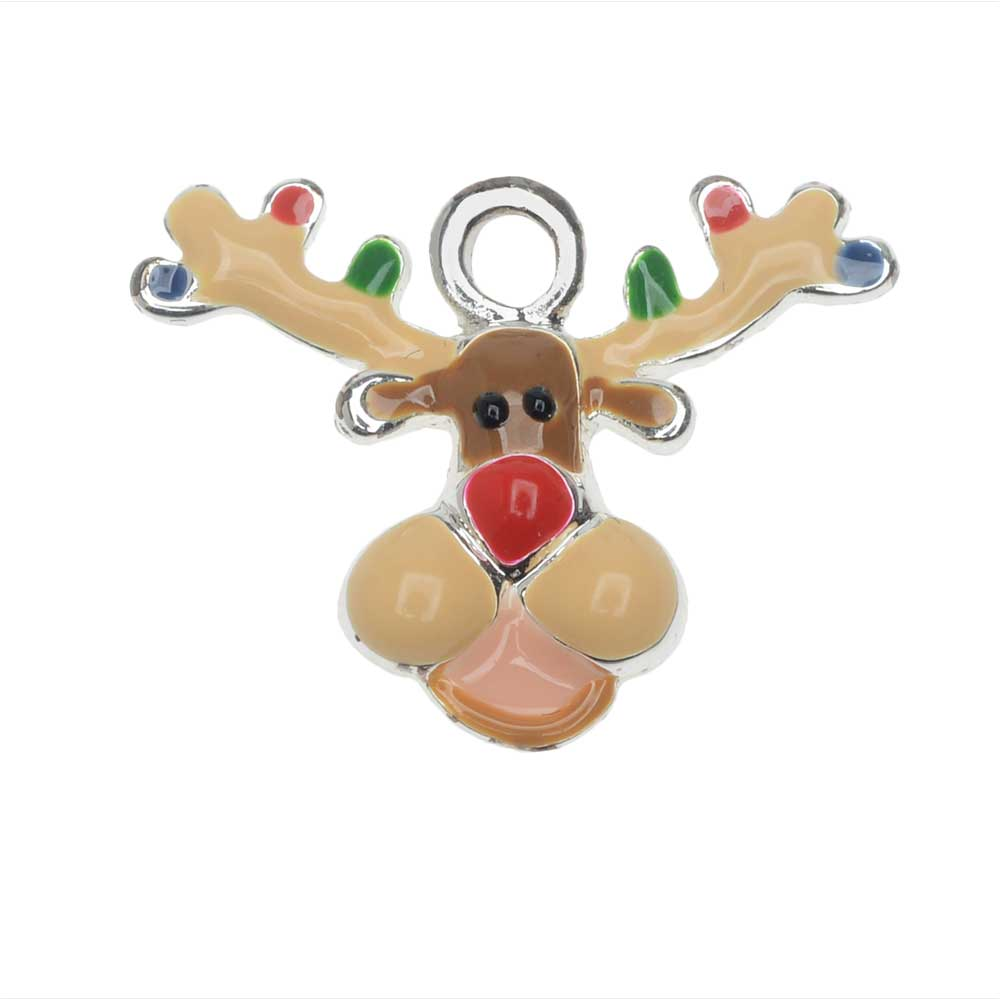 Jewelry Charm, Reindeer with Christmas Lights, 15mm, 1 Piece, Silver Plated / Brown