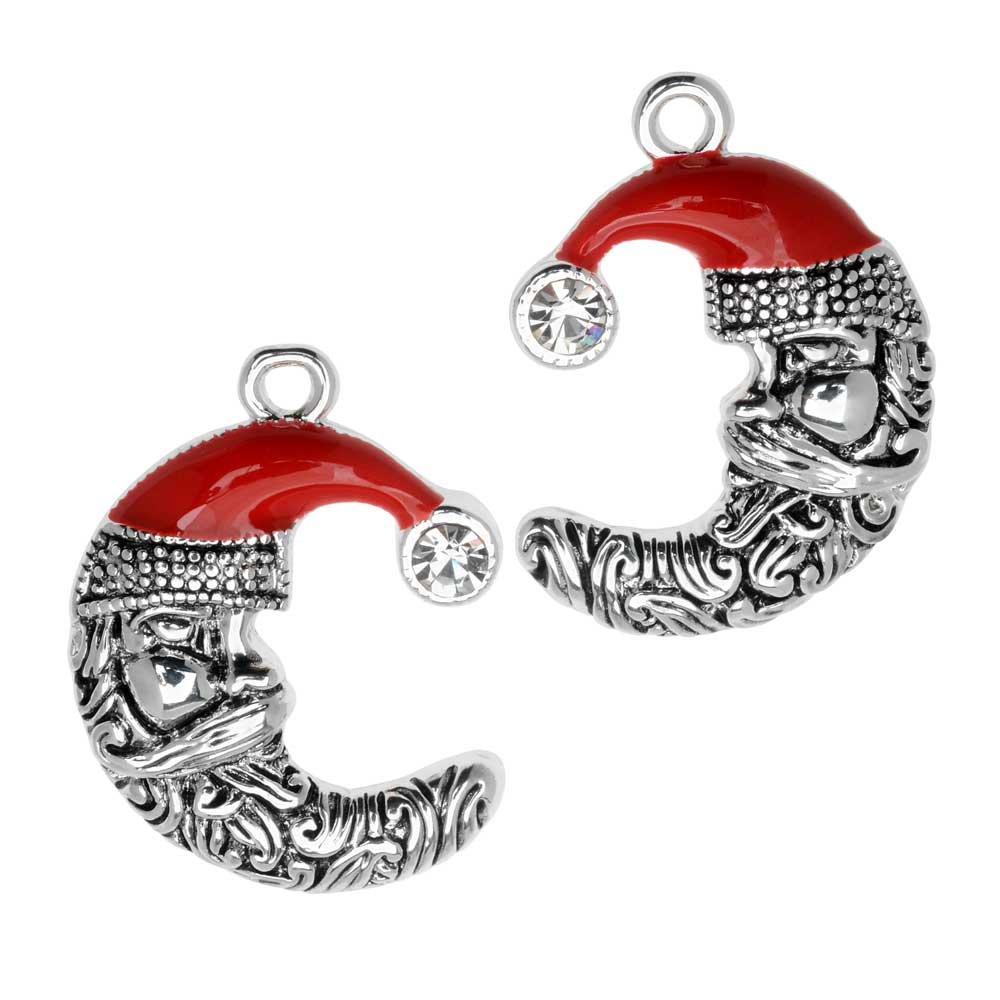 Jewelry Charm, Crescent Moon with Santa Face, Crystal, 24.5mm, Left & Right Pair, Silver Plated