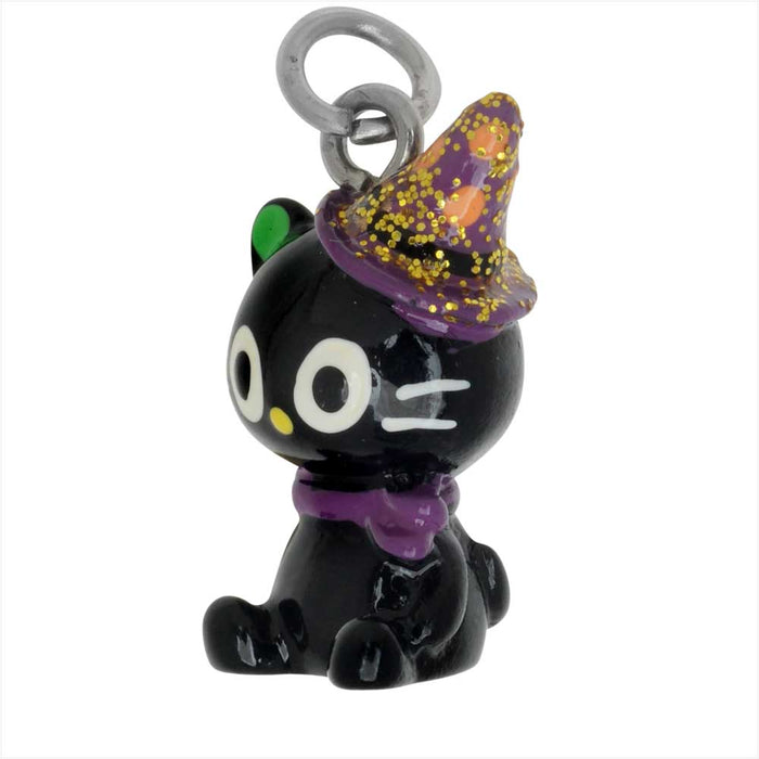 Jewelry Charm, 3-D Hand Painted Resin Kitty with Witch Hat, 20.5mm, 1 Piece, Black
