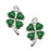 Jewelry Charm, Lucky Four Leaf Clover, 18mm, Left & Right Pair, Silver Plated with Enamel