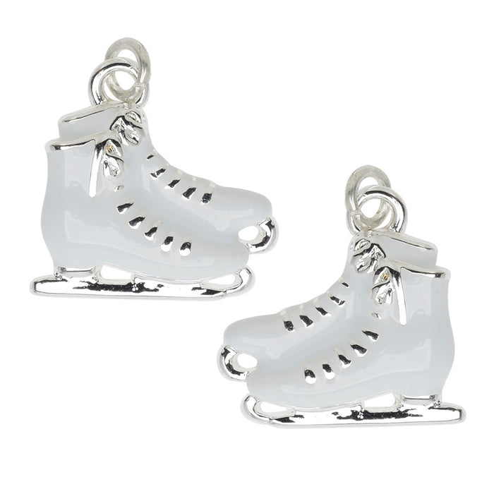 Jewelry Charm, White Ice Skates, 16mm, Left & Right Pair, Silver Plated with Enamel