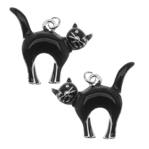 Jewelry Charm, Halloween Black Cat, 21mm, Left & Right Pair, Silver Plated with Enamel
