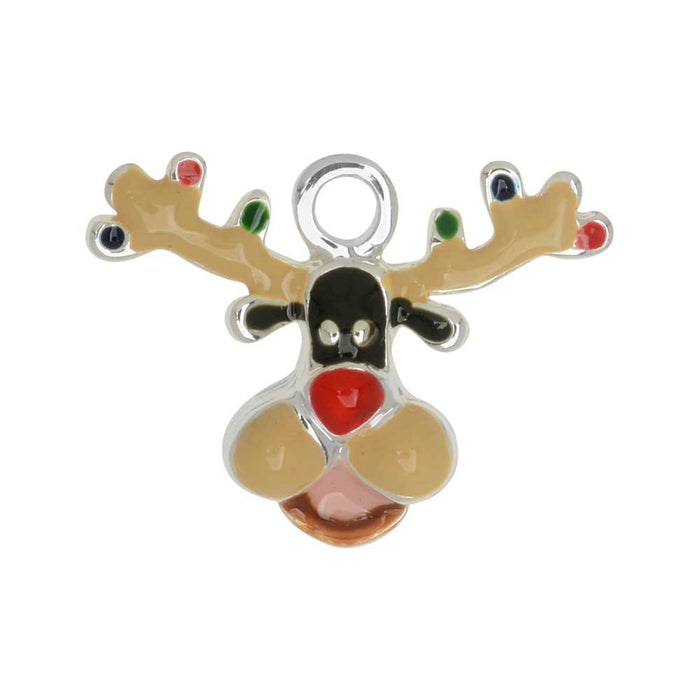 Jewelry Charm, Reindeer with Christmas Lights, 15mm, 1 Piece, Silver Plated / Black