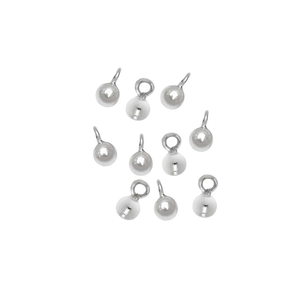 Nina Designs Charm, Round Balls with Loops 5x3mm, 10 Pieces, Sterling Silver