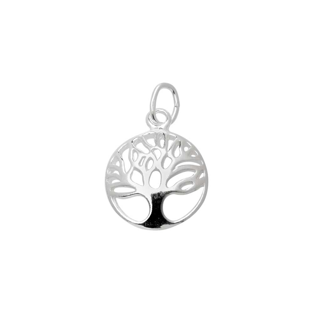 Sterling Silver Charm, Openwork Tree of Life with Jump Ring 14.5x11.5mm, 1 Piece