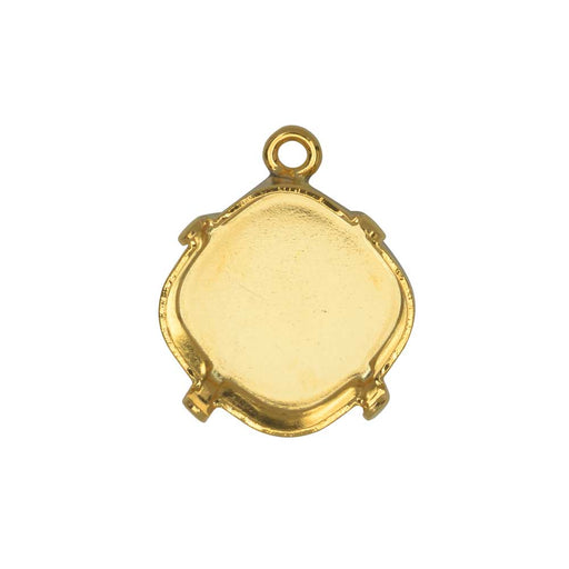 Gita Jewelry Stone Setting for Swarovski Crystal, Pendant Base for 12mm Cushion, Gold Plated
