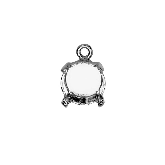 Gita Jewelry Stone Setting for Swarovski Crystal, Pendant Base for SS39 Chaton, Rhodium Plated