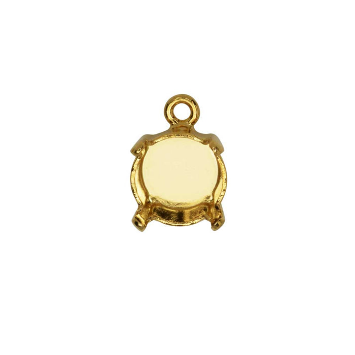 Gita Jewelry Stone Setting for Swarovski Crystal, Pendant Base for SS39 Chaton, Gold Plated