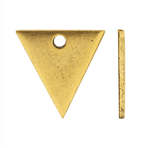 Nunn Design Flat Tag Charm, Triangle 13.5mm, Antiqued Gold Plated
