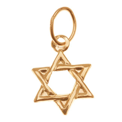 14K Gold Filled Charm, Jewish Star Of David with Jump Ring 11mm, 1 Piece