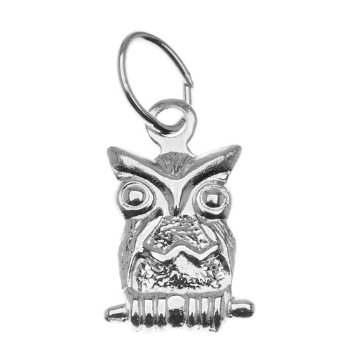 Sterling Silver Charm, Perched Owl 11mm, 1 Piece, Silver