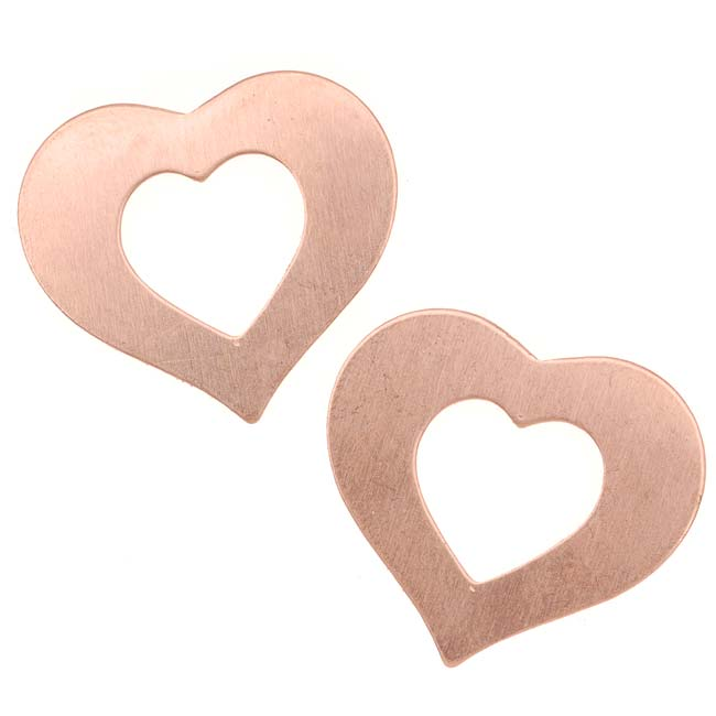 Solid Copper Wide Open Heart Blank Stampings 22x24mm (2)