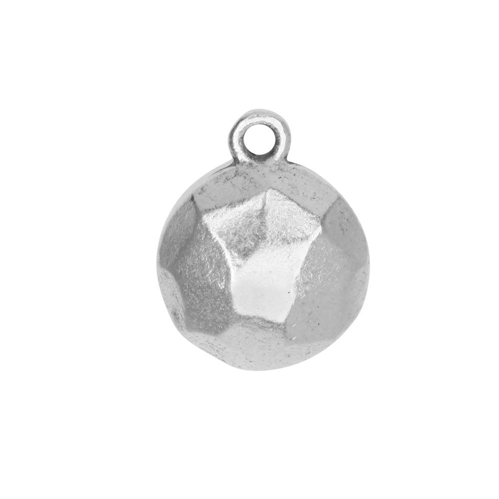 Metal Charm, Flat Back Faceted Circle 13mm, Antiqued Silver, 1 Piece, by Nunn Design