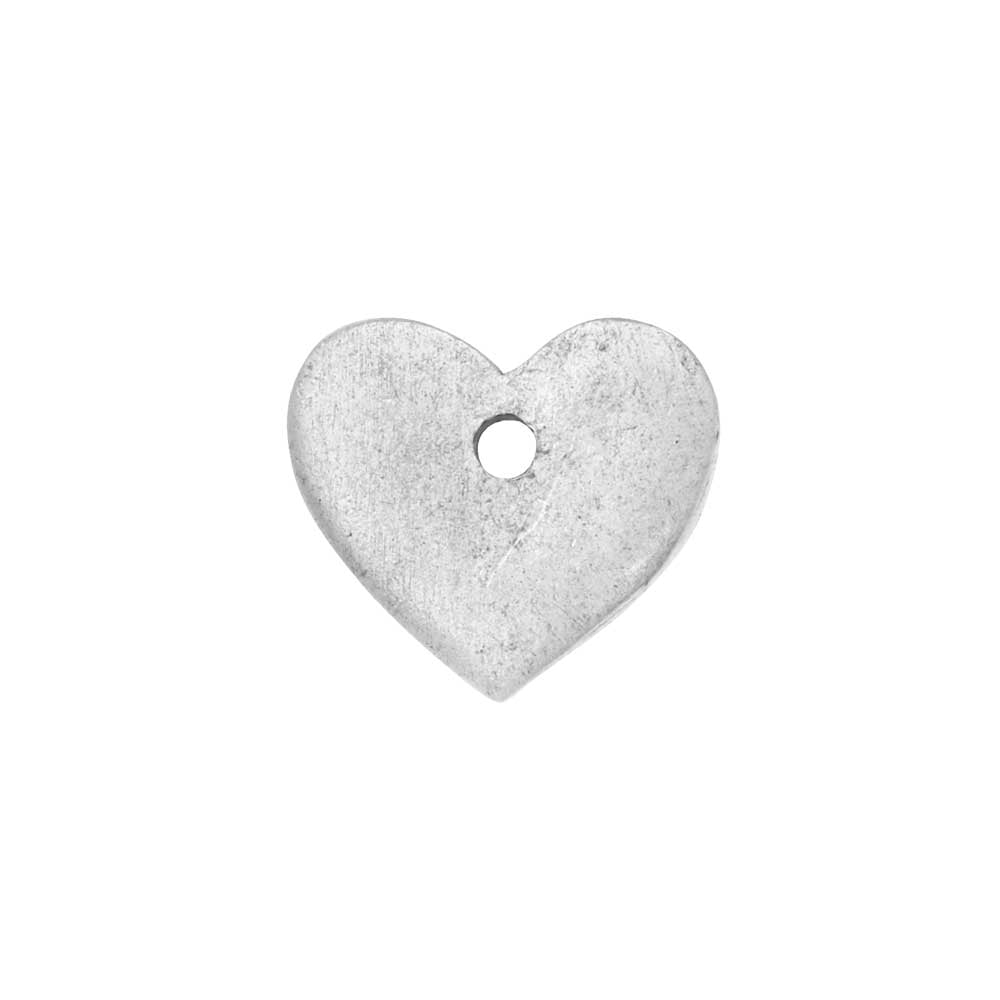 Flat Tag Pendant, Mini Heart 11mm, Antiqued Silver, 1 Piece, by Nunn Design