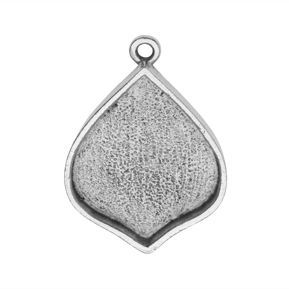 Bezel Pendant, Marrakesh Drop 22x28mm, Antiqued Silver, 1 Piece, by Nunn Design