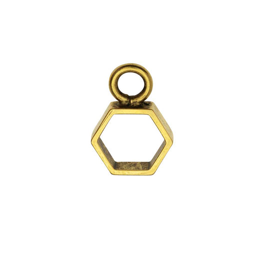 Open Frame Pendant, Itsy Hexagon 10.5x15mm, Antiqued Gold, 1 Piece, by Nunn Design