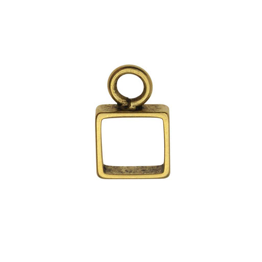 Open Frame Pendant, Itsy Square 9.5x15mm, Antiqued Gold, 1 Piece, by Nunn Design