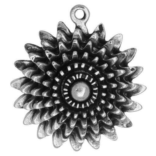 Metal Pendant, Large Daisy Flower 35x39mm, Antiqued Silver, 1 Piece, by Nunn Design