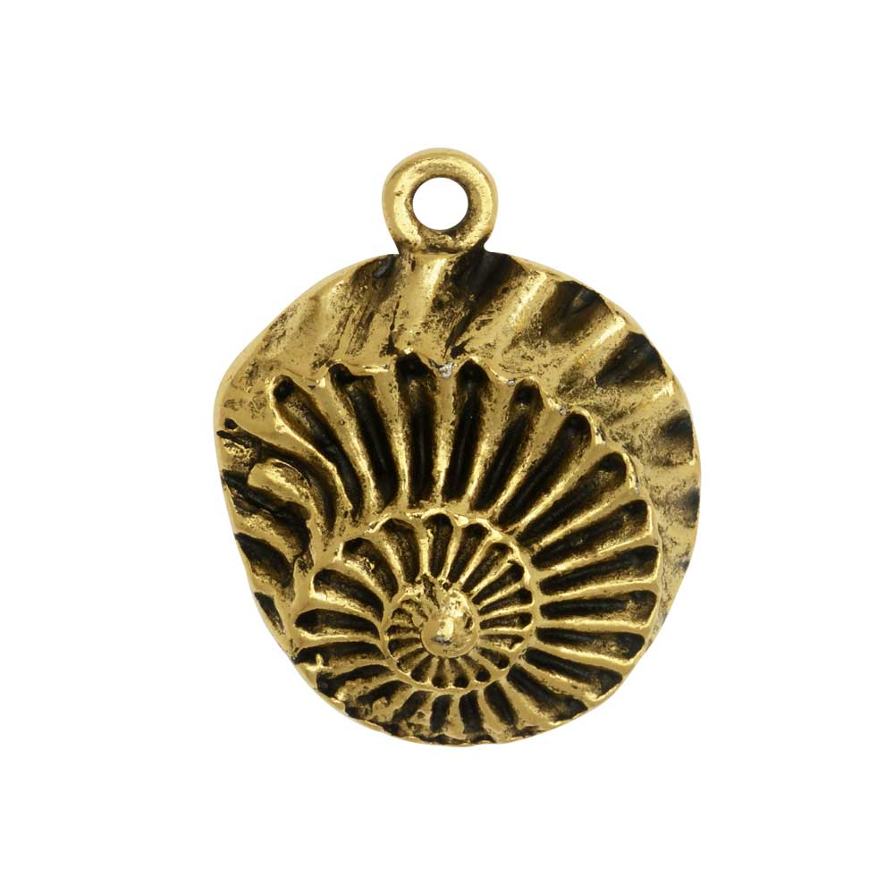 Metal Pendant, Nautilus Shell 21x28mm, Antiqued Gold, 1 Piece, by Nunn Design