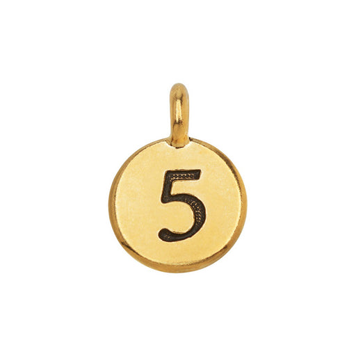 TierraCast Pewter Number Charm, Round '5' 16.5x11.5mm, 1 Piece, Gold Plated