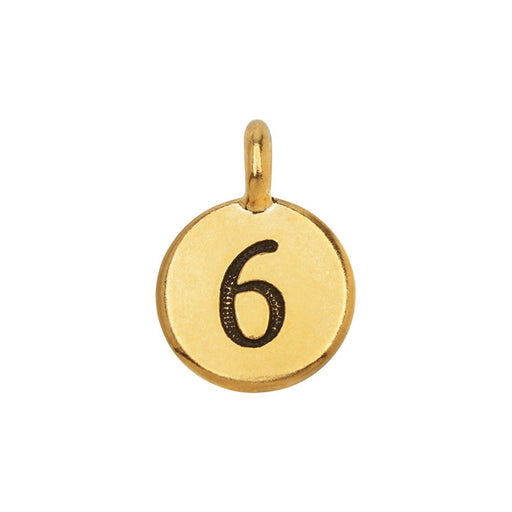 TierraCast Pewter Number Charm, Round '6' 16.5x11.5mm, 1 Piece, Gold Plated