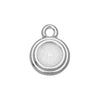 TierraCast Pewter Glue-In Charm, Round Stepped 7mm ss34 Bezel 16mm, 1 Piece, Rhodium Plated