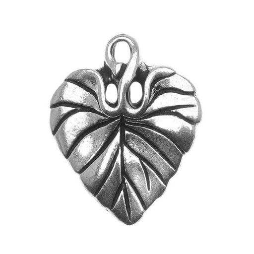 TierraCast Fine Silver Plated Pewter Violet Leaf Charm 18mm (1)