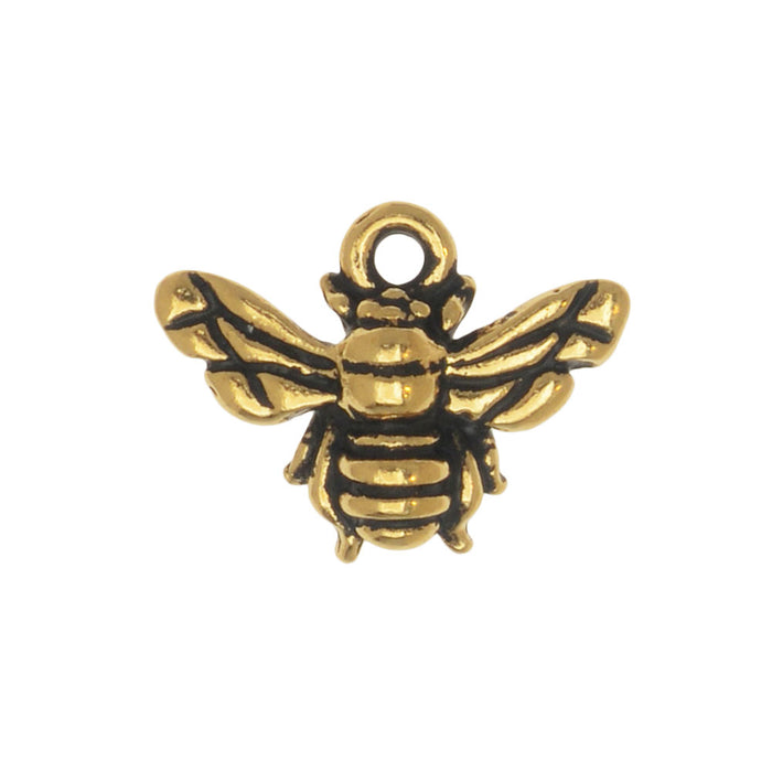 Metal Charm, Honey Bee 12mm, 1 Piece, Antiqued Gold Plated, By TierraCast