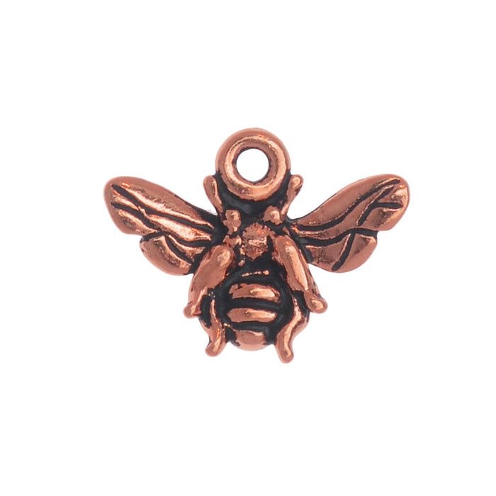 Metal Charm, Honey Bee 12mm, 1 Piece, Antiqued Copper Plated, By TierraCast