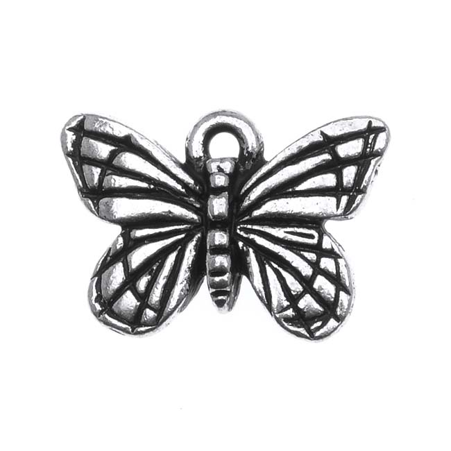 TierraCast Fine Silver Plated Pewter Monarch Butterfly Charm 16mm (1)