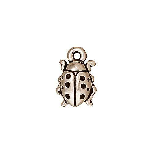 TierraCast Fine Silver Plated Pewter Ladybug Charm 12.5mm (1)