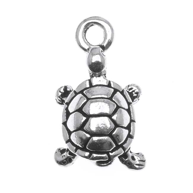 TierraCast Fine Silver Plated Pewter Lucky Turtle Charm 17.5mm (1)