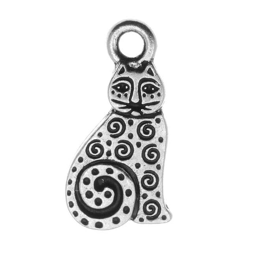 TierraCast Fine Silver Plated Pewter Art Spiral Cat Charm 19mm (1)