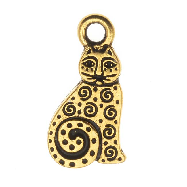 TierraCast 22K Gold Plated Pewter Art Spiral Cat Charm 19mm (1)