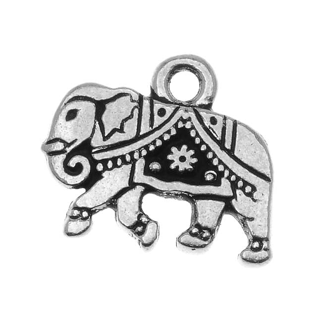 TierraCast Fine Silver Plated Pewter Indian Elephant Charm 12mm (1)