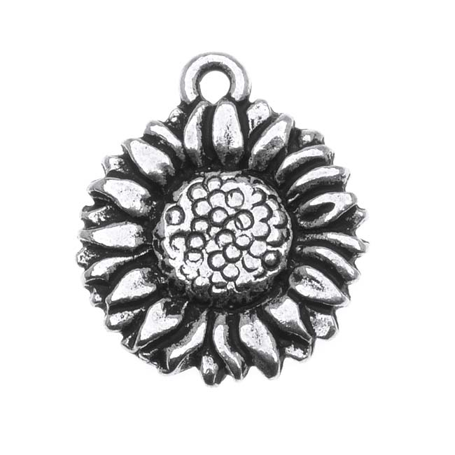 Fine Silver Plated Pewter 2-Side Sunflower Charm 15mm (1)