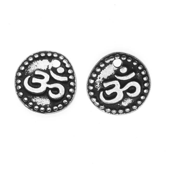 TierraCast Fine Silver Plated Pewter 2-Sided Om Aum Charm 10mm (2)