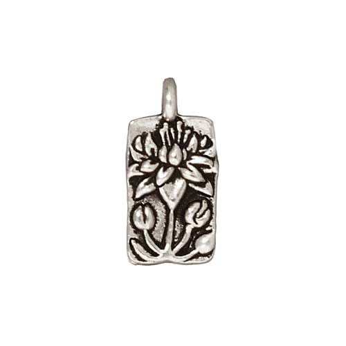 TierraCast Fine Silver Plated Pewter Floating Lotus Charm 17mm (1)