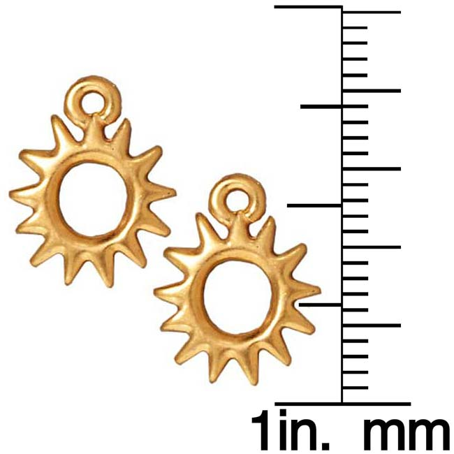 TierraCast 22K Gold Plated Pewter Radiant Sun Charm 14.2mm (2)